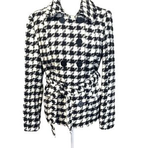 New Look Houndstooth Belted Coat size Large